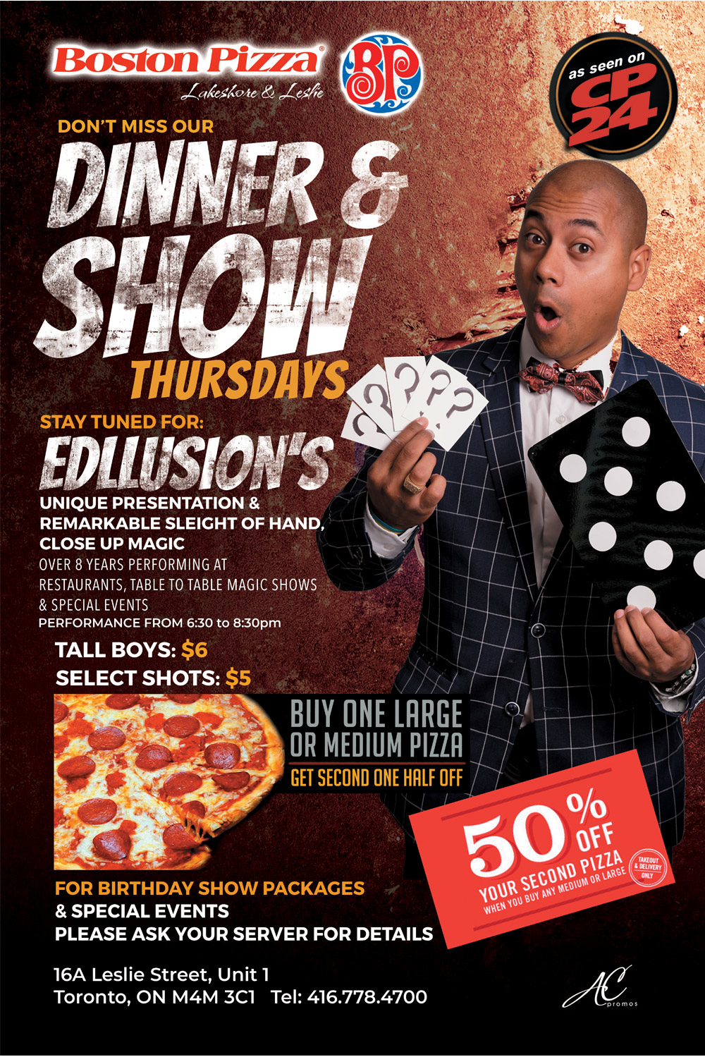 dinner and stage magic show boston pizza